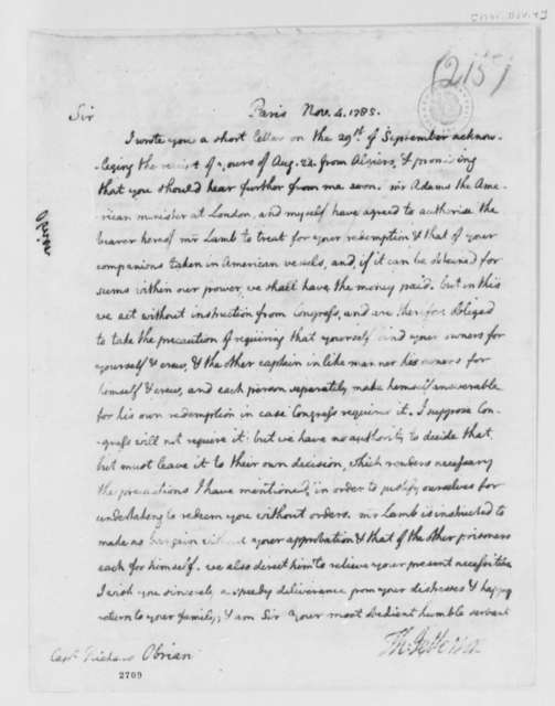 Thomas Jefferson to Richard O'Brien, November 4, 1785