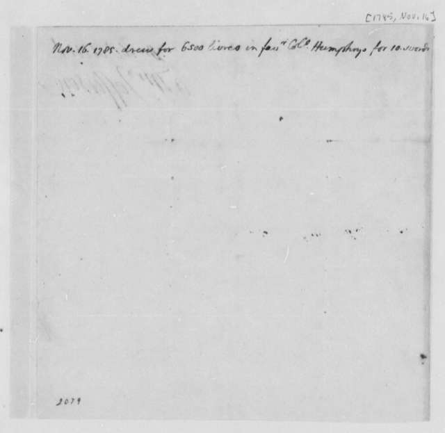 Thomas Jefferson to United States Congress, November 16, 1785, Memorandum on Payment for Swords Ordered by David Humphreys for the United States