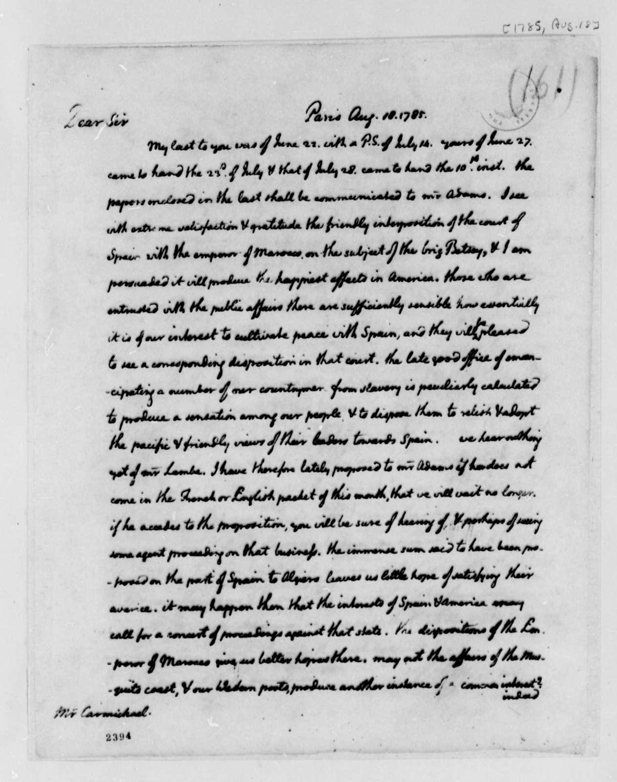 Thomas Jefferson to William Carmichael, August 18, 1785