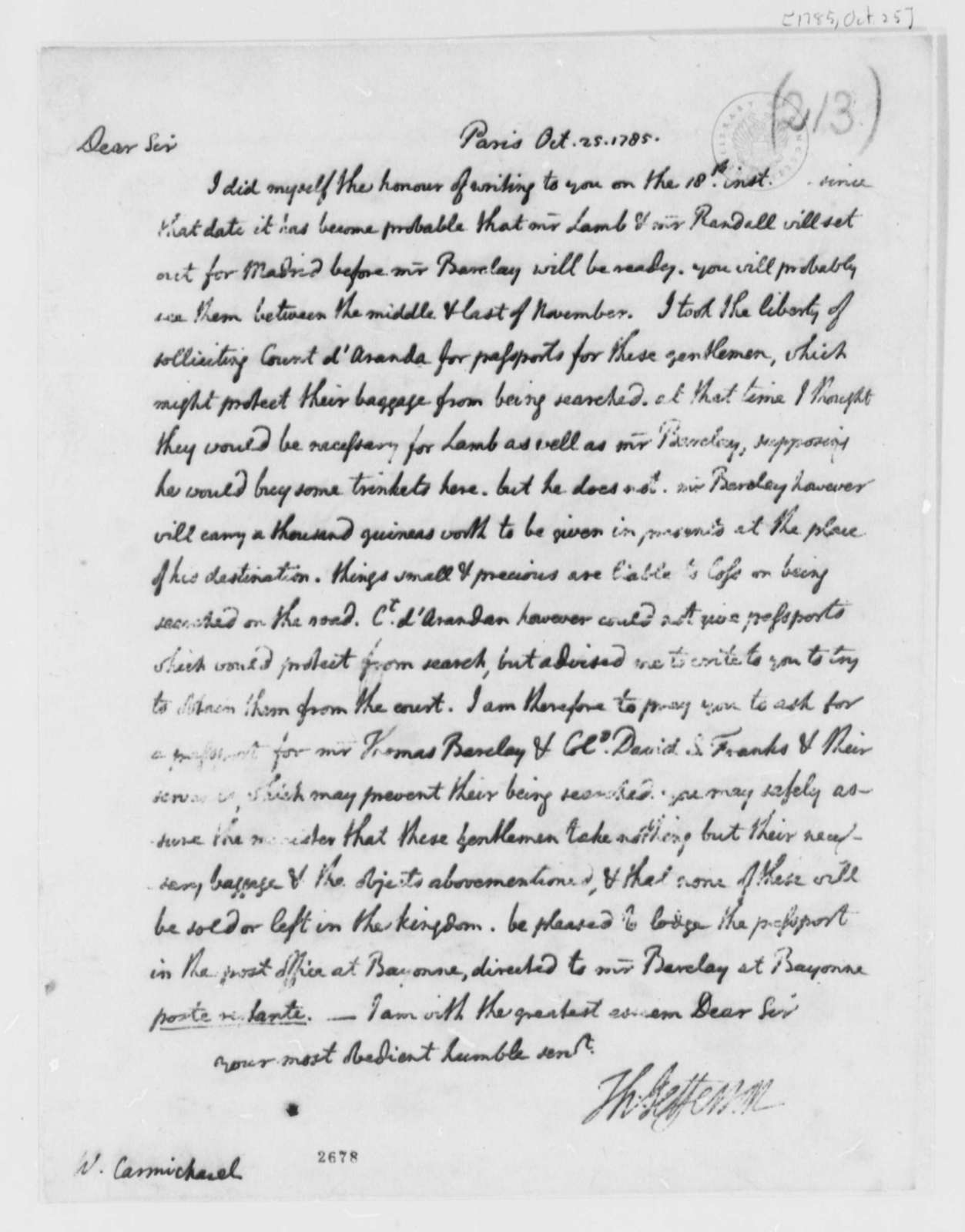 Thomas Jefferson to William Carmichael, October 25, 1785