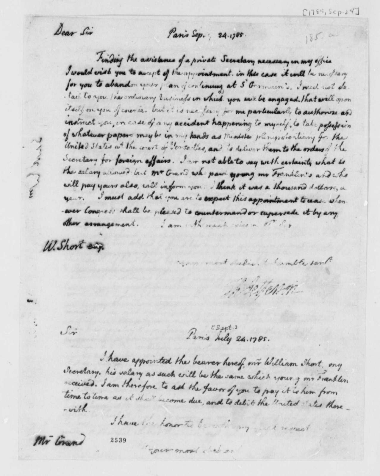 Thomas Jefferson to William Short, September 24, 1785, with Note to Ferdinand Grand