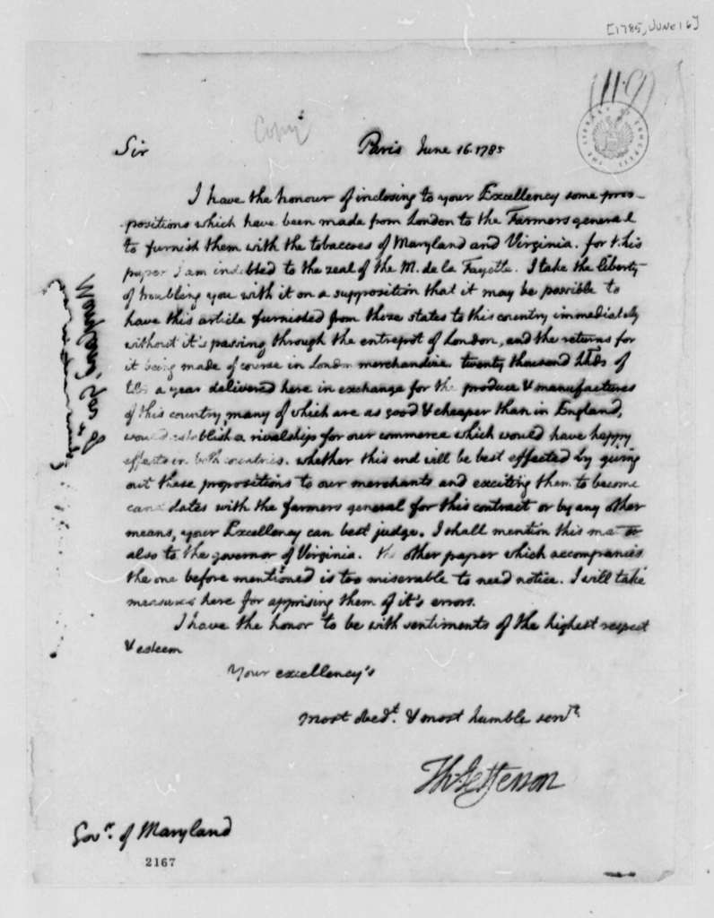 Thomas Jefferson to William Smallwood, June 16, 1785, with Copy