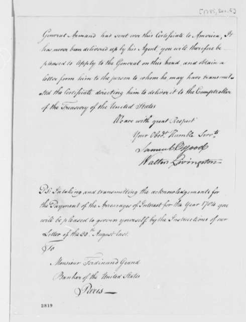 Treasury Board to Ferdinand Grand, December 5, 1785, United States Finances and Debt