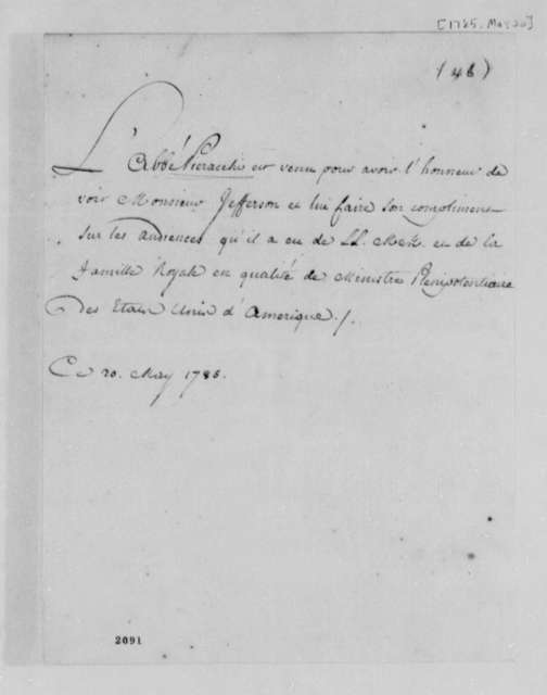Vieracchio L'Abbe to Thomas Jefferson, May 20, 1785, in French