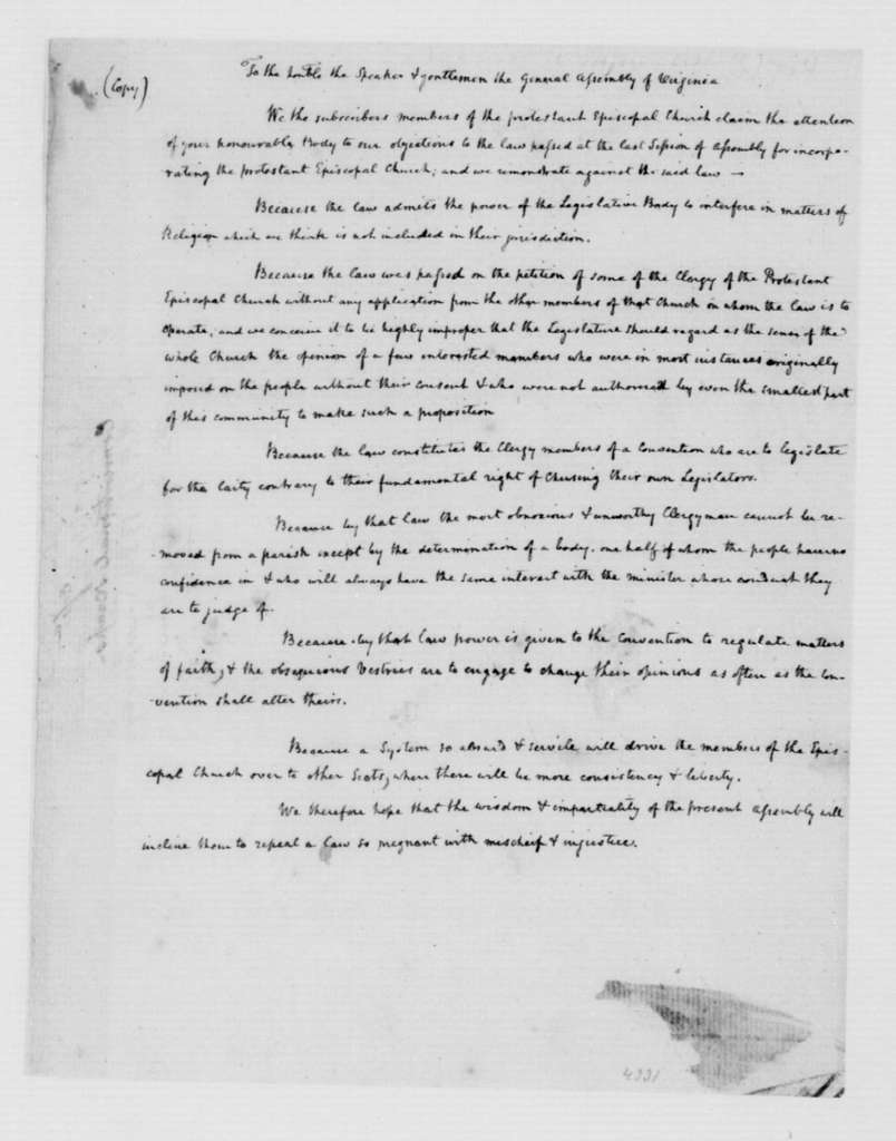 Virginia Episcopal Church to Virginia General Assembly. Petition against Law Incorporating the protestant Episcopal Church (Copy in James Madison's Hand). 1785.