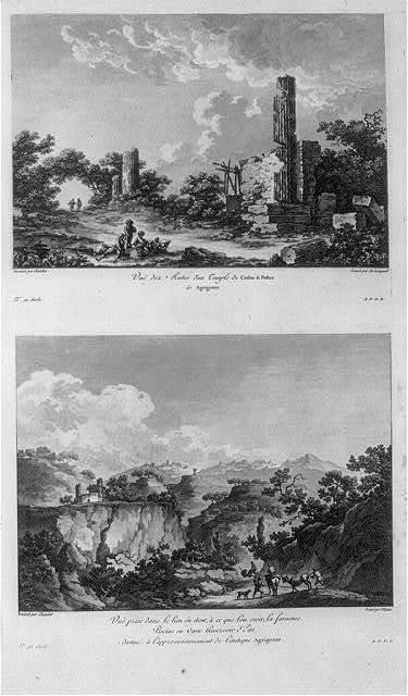 Vue des restes d'un Temple de Castor & Pollux à Agrigente. Vue prise dans le lieu où étoit, à ce que lóu croit, la fameuse piscine ...