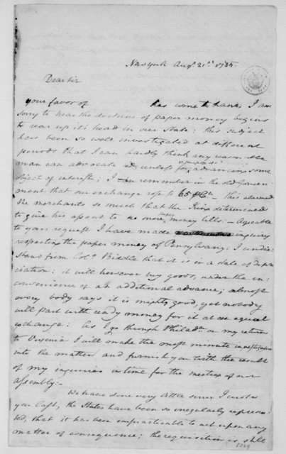 William Grayson to James Madison, August 21, 1785.
