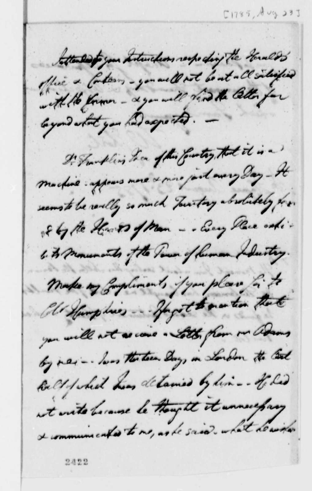 William Short to Thomas Jefferson, August 23, 1785, two same date; with Treaty Errata