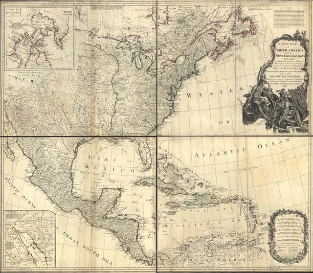 A new map of North America, with the West India Islands. Divided according to the preliminary articles of peace, signed at Versailles, 20, Jan. 1783. Wherein are particularly distinguished the United States and the several provinces, governments &ca. which compose the British dominions;