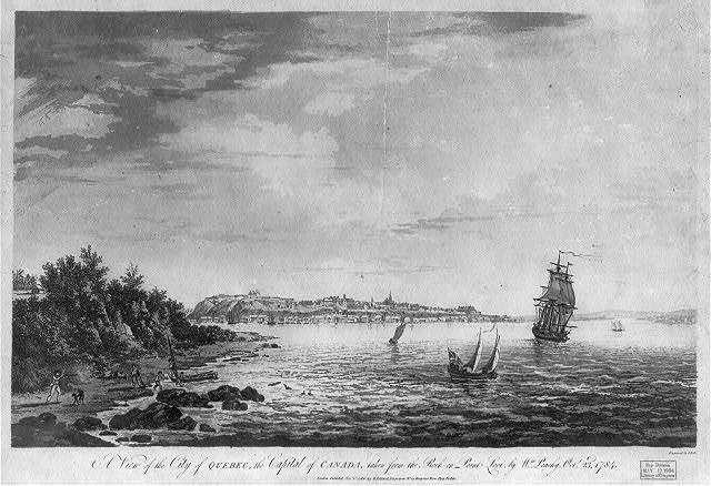 A view of the city of Quebec, the capital of Canada, taken from the rock on Point Levi, by Wm. Peachy Octr. 23d, 1784 / engraved by J. Wells.