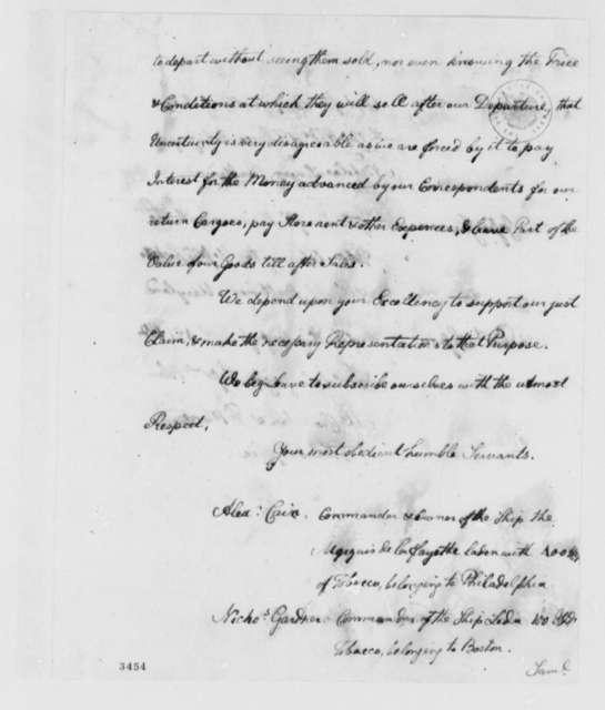 Alexander Cain, et al to Thomas Jefferson, April 19, 1786, Tobacco Trade