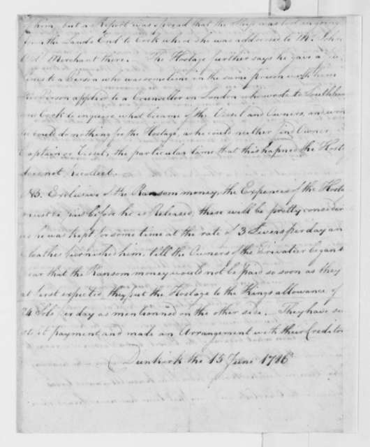 Alexander Gross, June 15, 1786, Affidavit on Impressment and Imprisonment