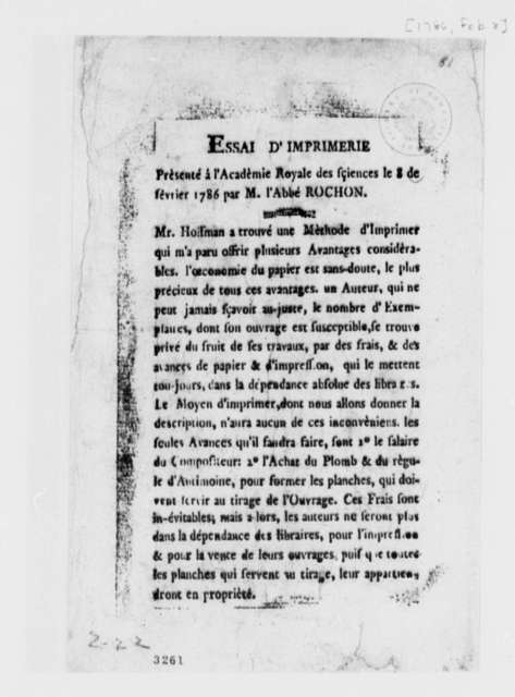 Alexis M. Rochon, February 8, 1786, Printed Description of New Printing Method; in French; with Copy