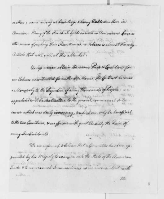 American and French Merchants at L'Orient to Thomas Jefferson, April 21, 1786, Report on Tobacco Trade with Farmers General of France and List of American Ships and Captains