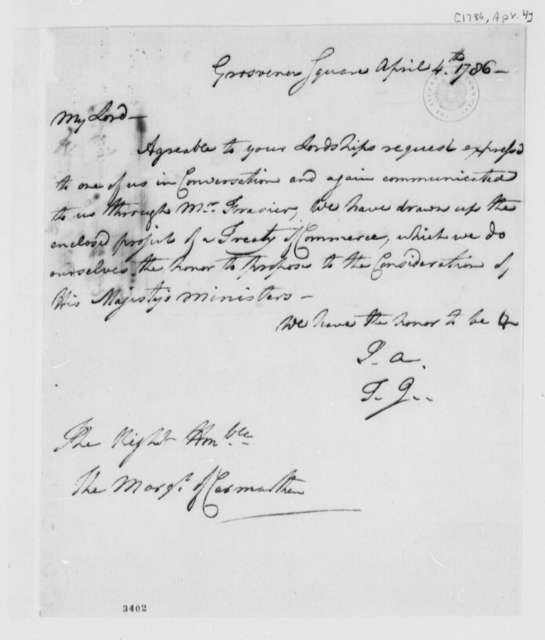 American Peace Commissioners to Marquis de Carmarthen, April 4, 1786
