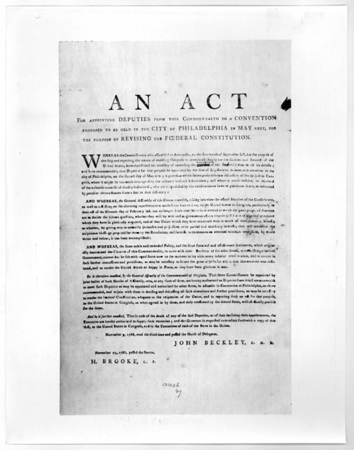 An act for appointing deputies from this Commonwealth to a convention proposed to be held in the City of Philadelphia in May next, for the purpose of revising the federal constitution ... November 9, 1786, read the third time and passed the Hous