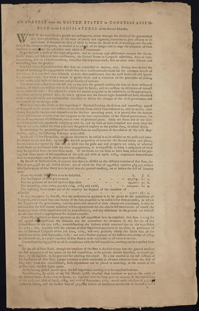 An address from the United States in Congress assembled to the legislatures of the several states : When the interests of a people are endangered, either through the defect of the government they have established, or the want of timely and vigorous, exertions to give efficacy to its operations, it becomes the duty ...