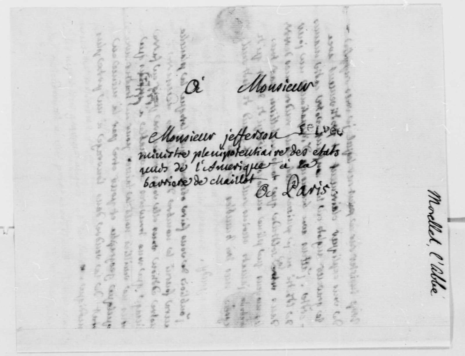 Andre Morellet to Thomas Jefferson, August 10, 1786, in French