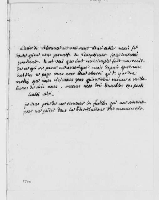 Andre Morellet to Thomas Jefferson, September 11, 1786, in French