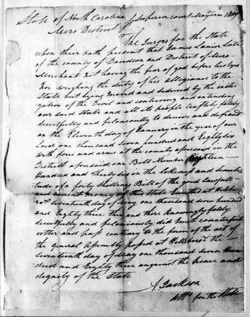 Andrew Jackson, May 17, 1786