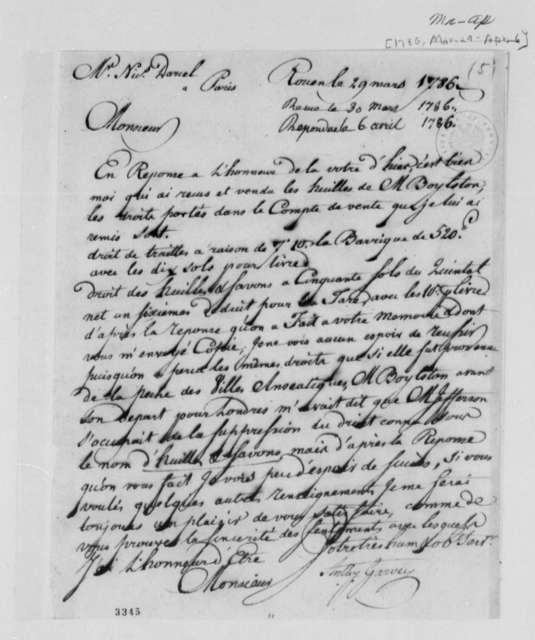 Anthony Garvey to Nicolas Darcel, 1786, in French