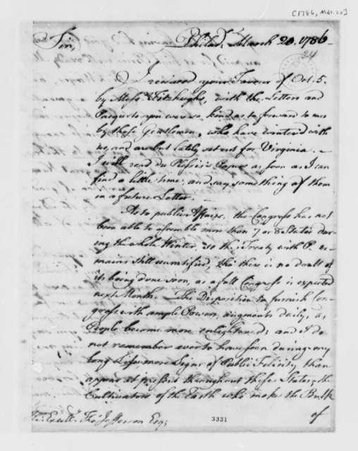 Benjamin Franklin to Thomas Jefferson, March 20, 1786