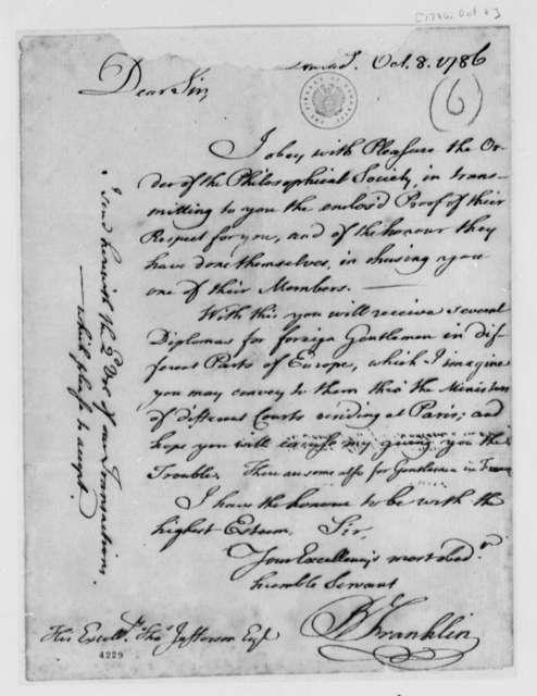 Benjamin Franklin to Thomas Jefferson, October 8, 1786