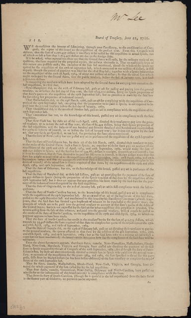 Board of Treasury, June 22, 1786 : Sir, we do ourselves the honour of submitting, through Your Excellency, to the consideration of Congress, the report of this board on the requisition of the present year. ...