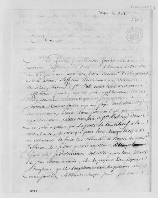 Borgnis Desbordes, Freres to William Short, March 13, 1786, in French
