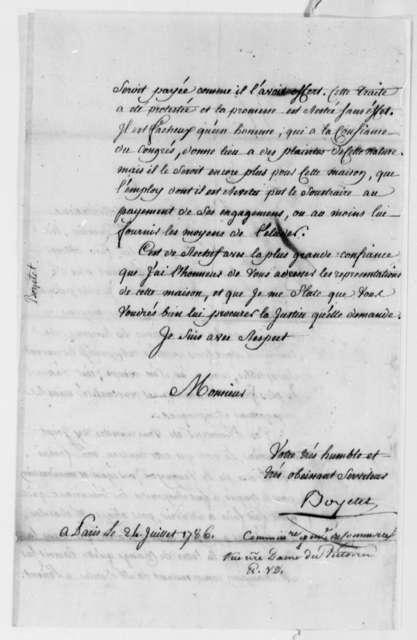 Boyetet to Thomas Jefferson, July 24, 1786, Thomas Barclay's Overdue Debt to Veuve Samuel Joly l'aine et fils; in French