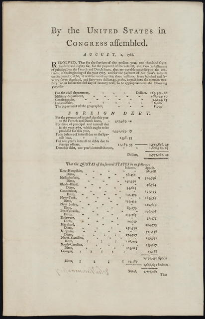 By the United States in Congress assembled. August 2, 1786 : Resolved, that for the services of the present year, one thousand seven hundred and eighty six, for the payment of the interest, and two installments of principal on the French and Dutch loans ... it will be necessary that three millions, seven hundred and seventy-seven thousand, and sixty-two dollars 43-90ths, be paid into the common treasury ...
