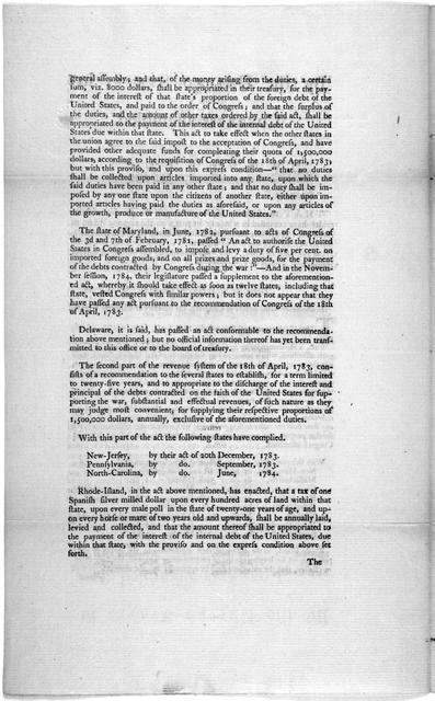 By the United States in Congress assembled. January 2, 1786 : Ordered, that the secretary of Congress report the number of states which have complied in whole or in part with the revenue system of April 18, 1783 ...