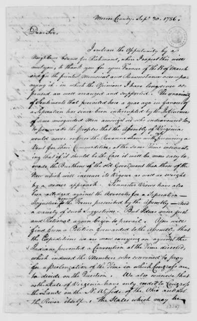 Caleb Wallace to James Madison, September 30, 1786.