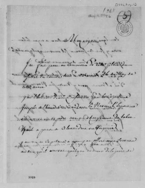 Cavelier, Fils to Thomas Jefferson, August 1, 1786, Tobacco Trade