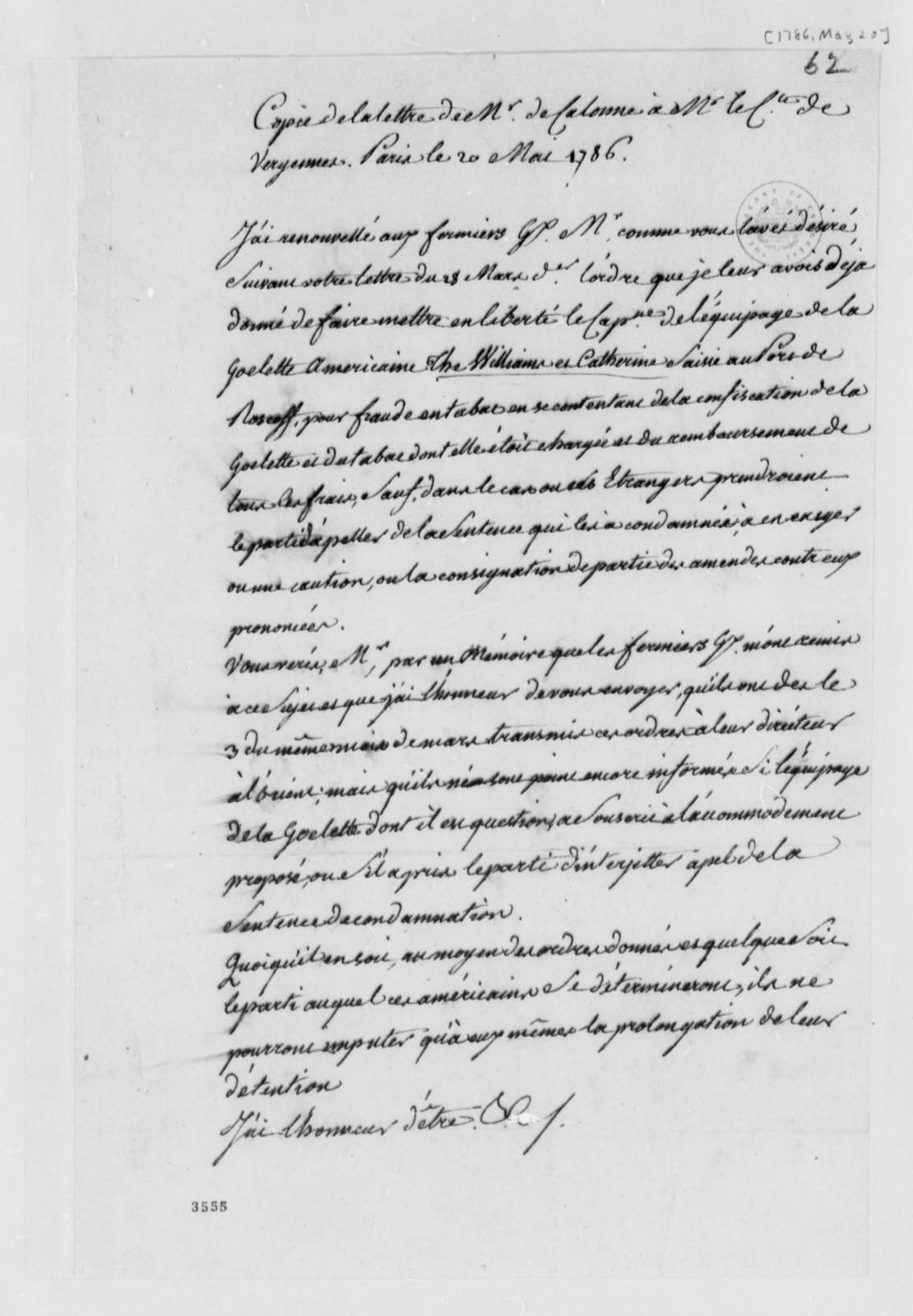 Charles Alexandre de Calonne to Charles Gravier, Comte de Vergennes, May 20, 1786, in French