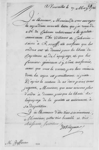 Charles Gravier, Comte de Vergennes to Thomas Jefferson, May 27, 1786, in French