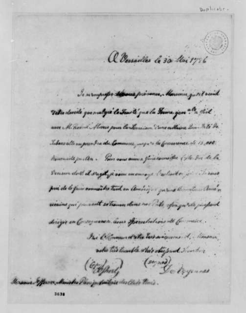 Charles Gravier, Comte de Vergennes to Thomas Jefferson, May 30, 1786, Tobacco Trade