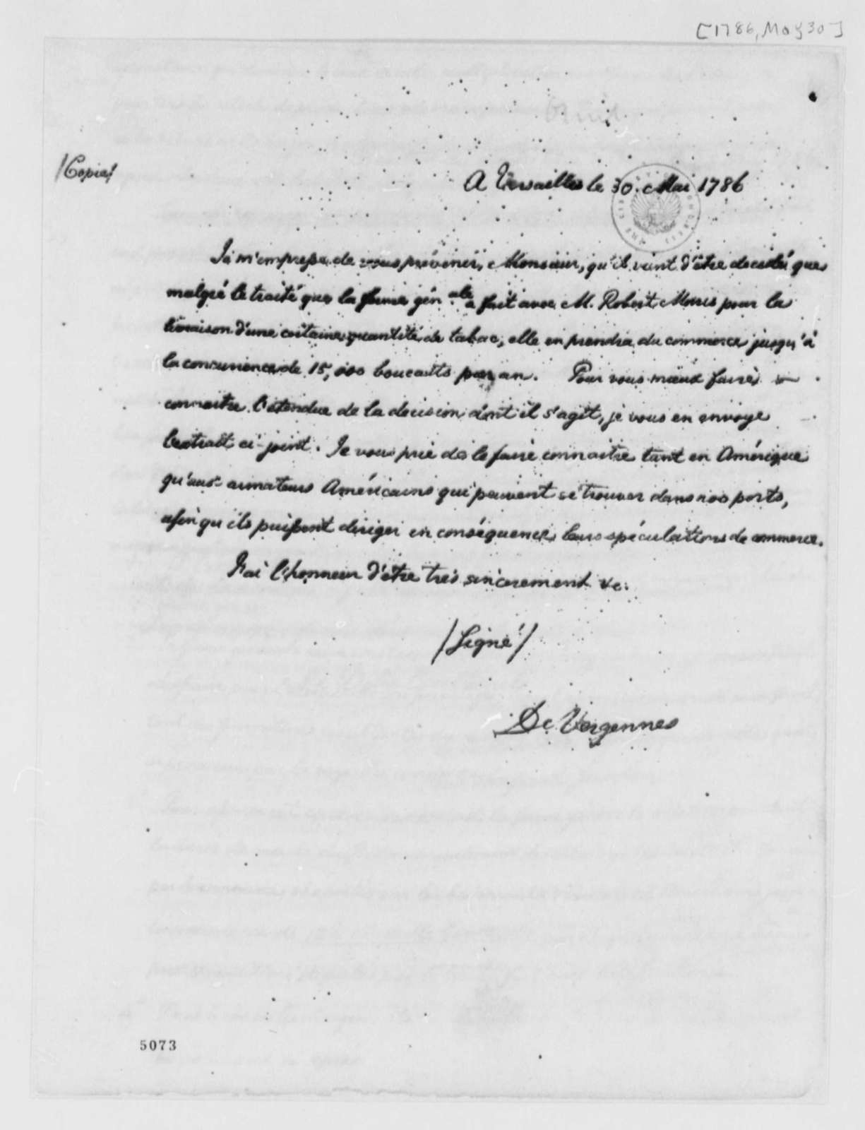 Charles Gravier, Comte de Vergennes to Thomas Jefferson, May 30, 1786, Tobacco Trade Regulations; in French