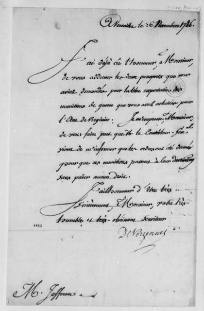 Charles Gravier, Comte de Vergennes to Thomas Jefferson, November 26, 1786, in French