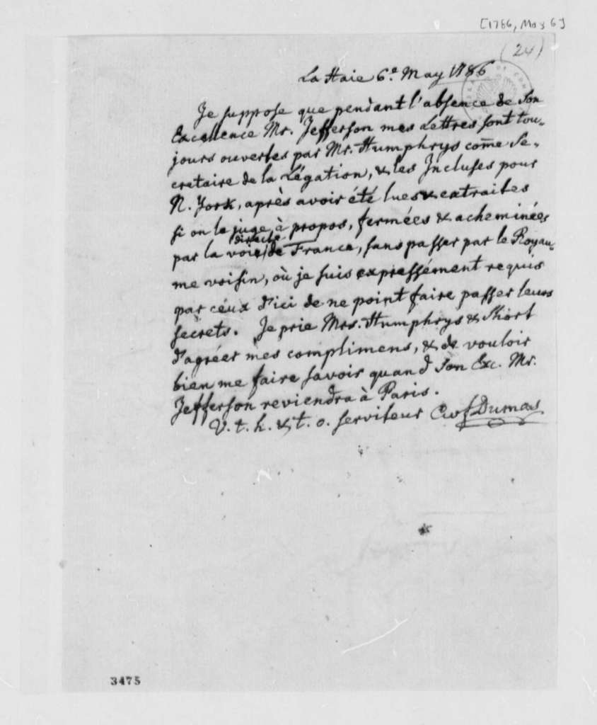 Charles William Frederic Dumas to David Humphreys, May 6, 1786, in French