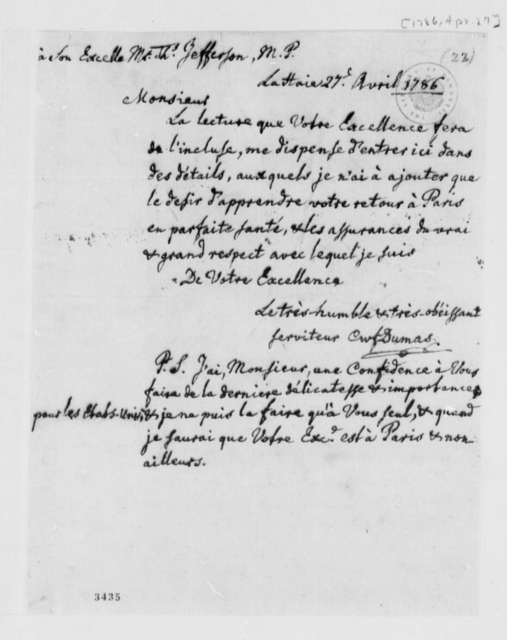 Charles William Frederic Dumas to Thomas Jefferson, April 27, 1786, in French