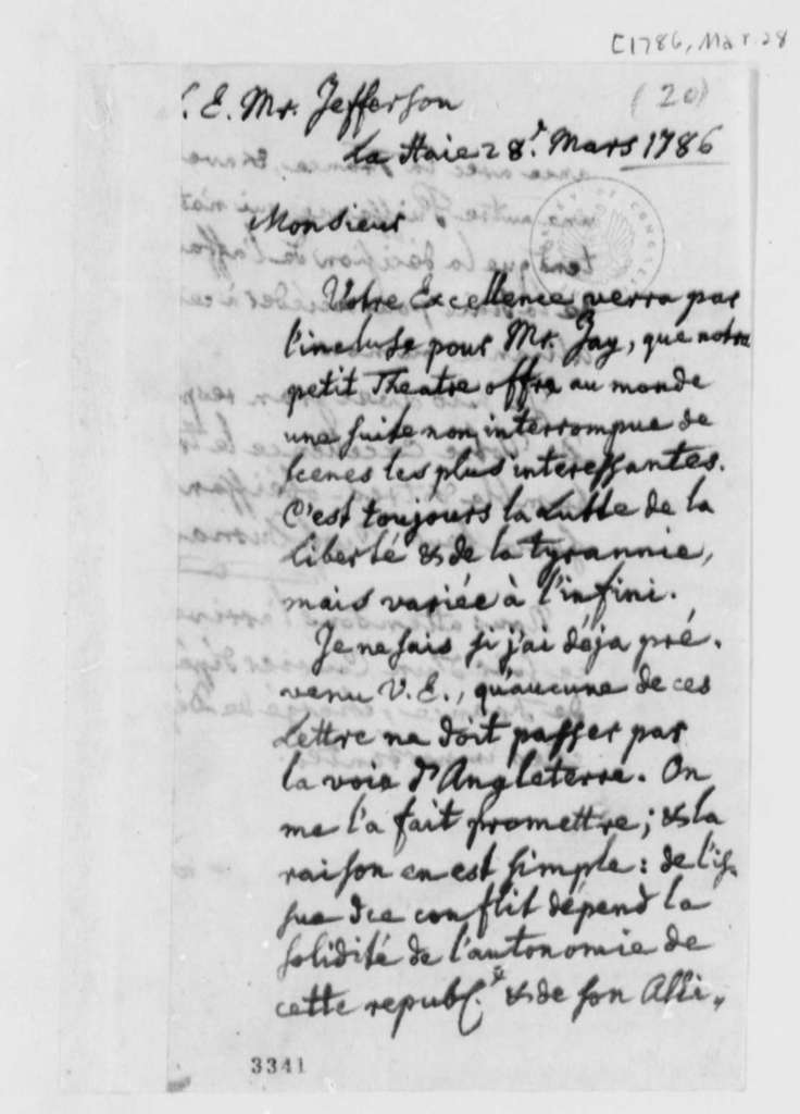 Charles William Frederic Dumas to Thomas Jefferson, March 28, 1786, in French