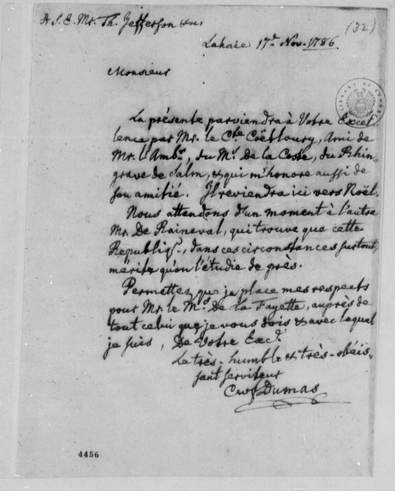Charles William Frederic Dumas to Thomas Jefferson, November 17, 1786, in French