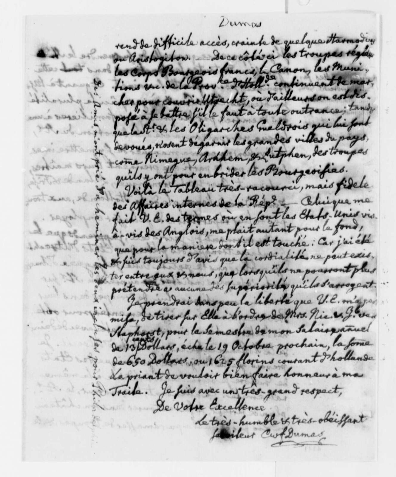 Charles William Frederic Dumas to Thomas Jefferson, September 12, 1786, in French