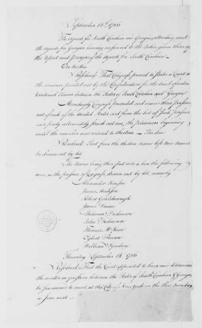 Continental Congress, September 4, 1786. Georgia and South Carolina Dispute, Extracts from Proceedings Sept. 4-15.