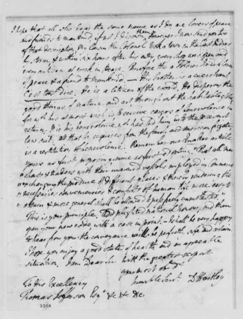 David Hartley to Thomas Jefferson, March 5, 1786