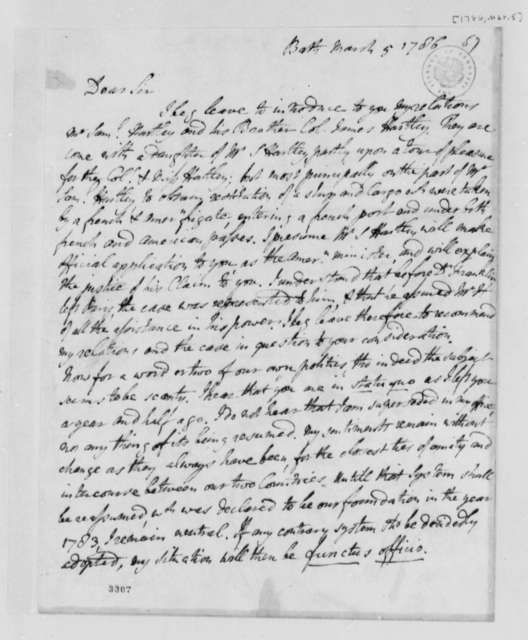 David Hartley to Thomas Jefferson, March 5, 1786