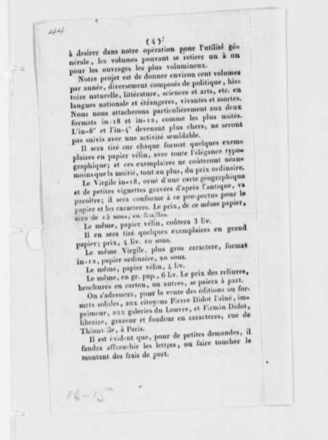Editions Stereotypes (publication), February 8, 1786, Pamphlet on New Printing Method Invented by Pierre and Firman Didot and Louis Etienne Herhan; in French