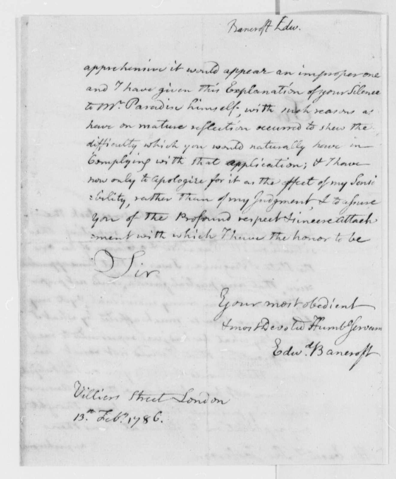 Edward Bancroft to Thomas Jefferson, February 13, 1786