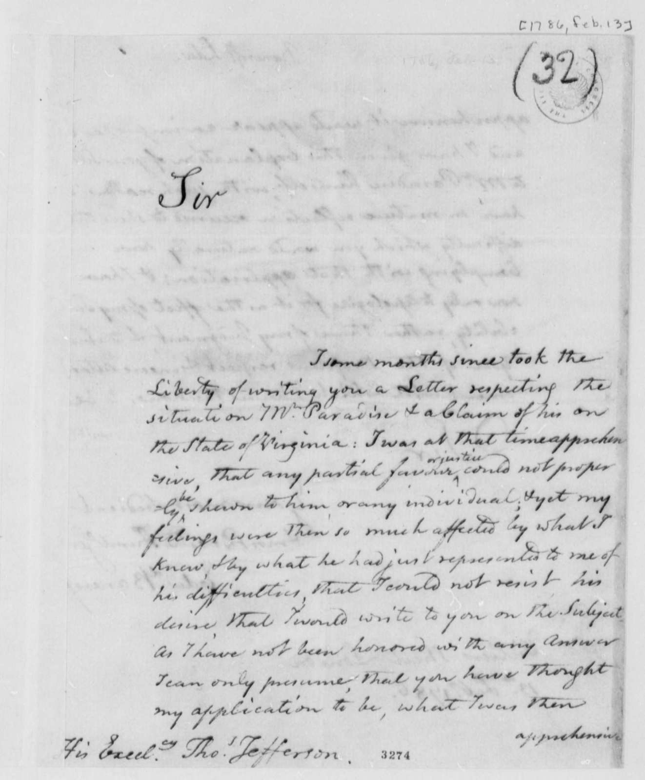 Edward Bancroft to Thomas Jefferson, February 13, 1786